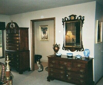 Pennsylvania House Mahogany Chippendale Mirror With Scrolls & Gold Shell Accent