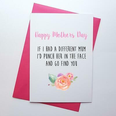 Funny Mother's day card for mum, humour, punch in face cheeky witty novelty joke