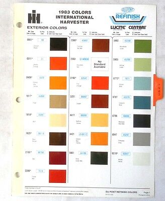 1983 International Truck  Dupont  Color Paint Chip Chart All Models