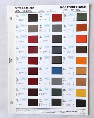 1988 Ford Truck  Dupont   Color Paint Chip Chart All Models Original