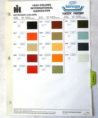 1985 International Truck  Dupont  Color Paint Chip Chart All Models