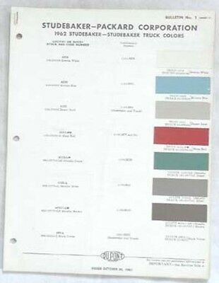 1962 Studebaker And Truck Color Paint Chip Chart All Models Original