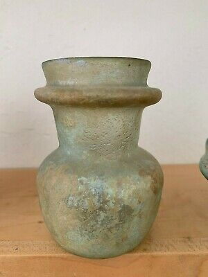 "Beautiful Roman Glass Bottle with some Iridescence--Intact---4"" Tall"