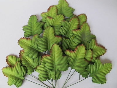 50 Maple GREEN leaves 40mm wire stem Mulberry Craft Card Embellishment M4G