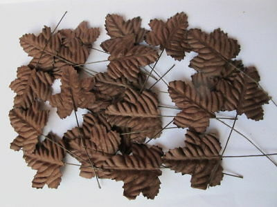 50 Maple BROWN leaves 40mm wire stem Mulberry Craft Card Embellishment M4DB