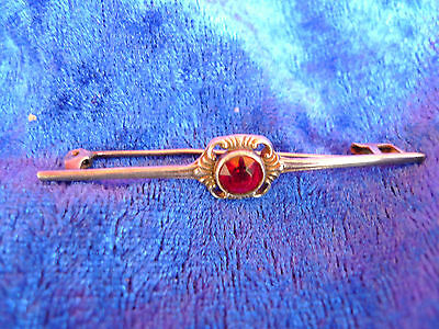 Beautiful, Old Brooch ___ 835 Silver __ with Red Stone __ bar Brooch __