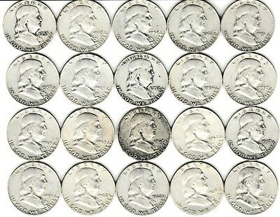 20 Coin Franklin Us 90% Silver Half Dollar Roll 1951D - 1963 Great Investment  B