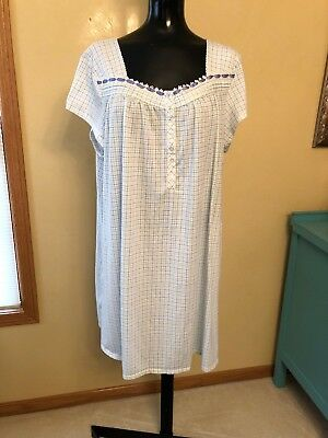 94f3e6752e Earth Angels Nightgown Plaid Short Sleeve Size XL Lace Ribbon Blue Green