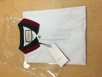 7a63f6b26 Gucci Polo Pocket Shirt White Short Sleeve With Red and Green Collar Size XL