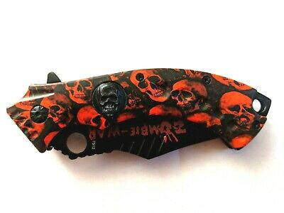 "8"" Red Zombie-War Skull Head Spring Assisted Knife with Belt Clip"