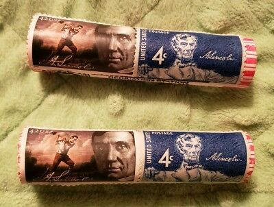 2) 2010 LINCOLN SHIELD CENT LP5 STAMPED & CANCELLED ROLL SPRINGFIELD, IL Blue #5