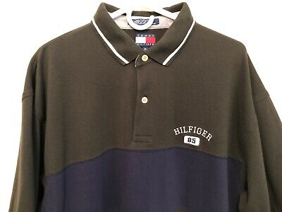 38d2d3056 Vintage Tommy Hilfiger Mens XL Polo Shirt Color Block Spell Out Green Blue