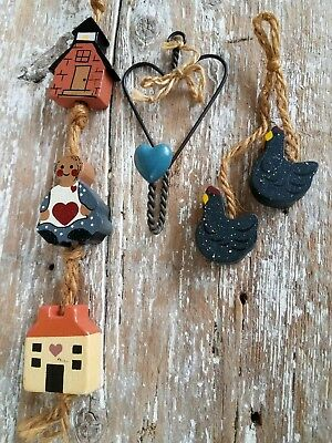 VTG Wire Heart Wall Hook Hang Wood Doll Primitive House Chicken String Ornie Lot