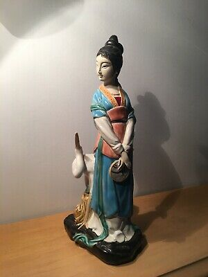 Vintage Woman Chinese porcelain figure sculpture China Jingdezhen Statue Figur