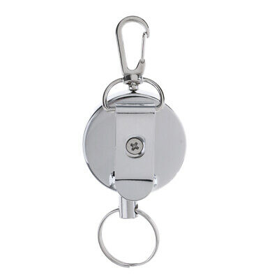 Retractable Pull Key Chain Badge Reel Security Badge Holder Belt Clip Silver