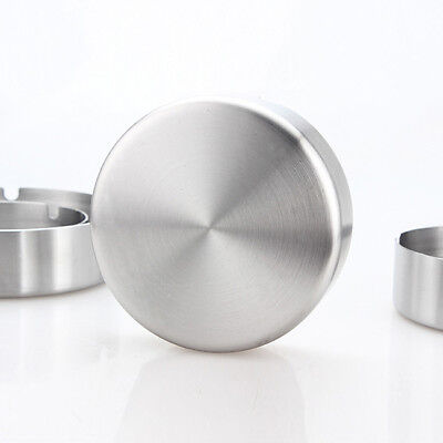 Round Stainless Steel Ashtray With Three Rest Holder Holes Man Women Tools B