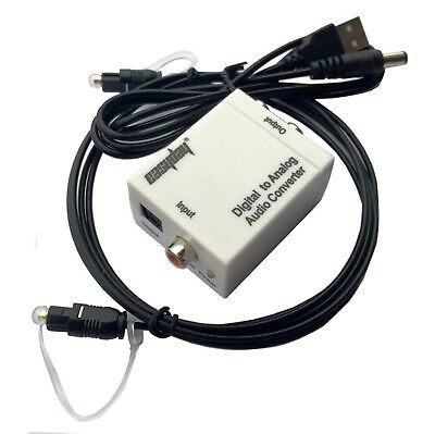With Fiber Cable Digital Optical Coax to Analog RCA L/R Audio Converter Adapter