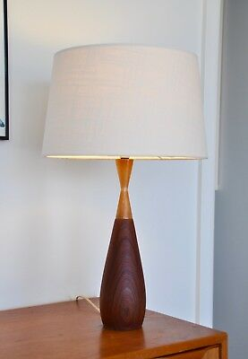 Vintage Mid Century Danish Eames 'TALJE' Table Lamp Teak & bespoke shade