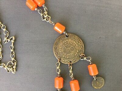 Vintage Turkish Ottoman Middle Eastern coin necklace amber beads