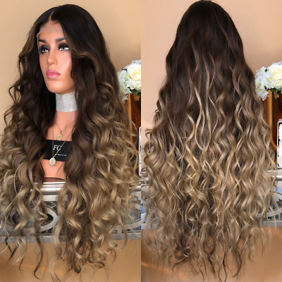 AU Women Long Full Wig Natural Curly Wavy Synthetic As Real Hair Cosplay Wigs