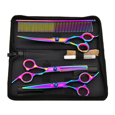 Pet Grooming Scissors Set Cutting&Thinning&Curved Shears Cat Dog Fur Shaver NEW