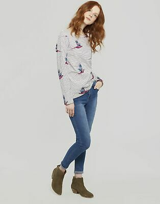 Joules Womens Harbour Printed Jersey Top Shirt in CREAM PAINTED PHEASANT STRIPE