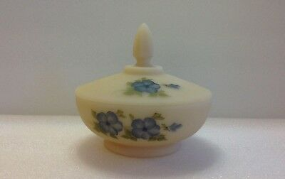 Vintage Fenton Hand Painted Satin Covered Candy Dish-Signed