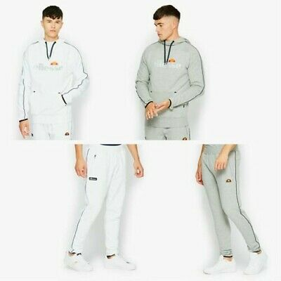 Ellesse Survêtement Sweat Capuche & Haut Pantalon Jogging en Blanc & Gris Chiné