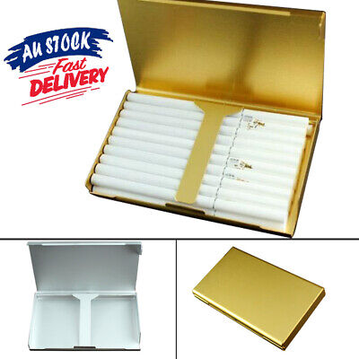 Elegant Gold Wiredrawing 20 Thin Slim Cigarette Case S6 Holder Aluminum Box