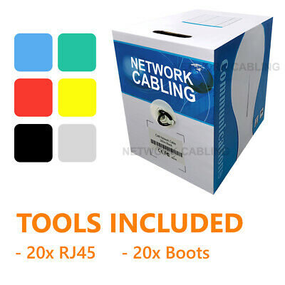 Cat6 100m/305m UTP Ethernet Lan Network Data Cable Roll Solid Core Box 6 Colors