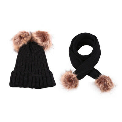 Exquisite Warming Hat Scarf Set Two Faux Fur Puff Balls Cap for Toddler B