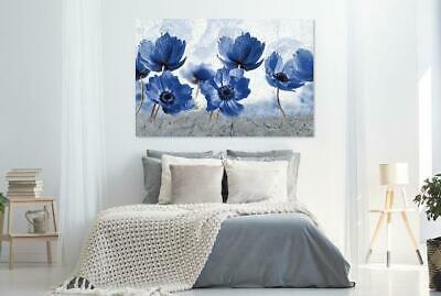 Beautiful Abstract Blue Flowers Art Print Home Decor Wall Art choose your size