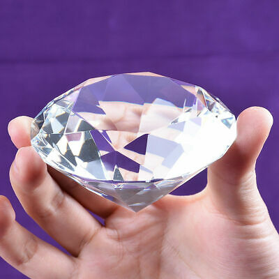 80mm Crystal Clear Paperweight Faceted Cut Glass Giant Diamond Jewel Large