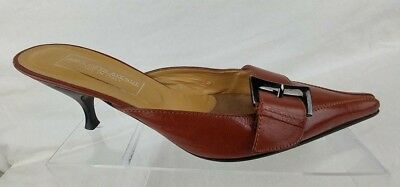 Saks Fifth Avenue Womens Shoes Leather Size 8 B Mules Brown Made In Italy