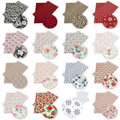 20*34 cm Faux Flowers Printed Leather Fabric Sheet  DIY Crafts Sewing Material