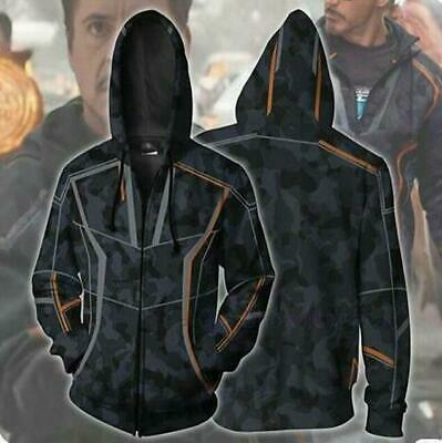 Hot Avengers Infinity War Tony Stark Zip Hoodie Pullover Coat Men Sweatshirt New