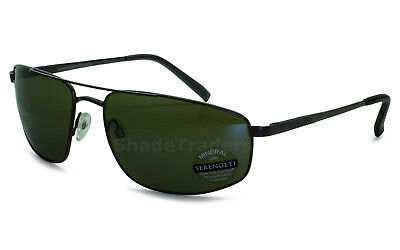5353ae65d7f88 Serengeti Modugno Aviator Sunglasses Satin Black Polarized 555Nm Green 8407