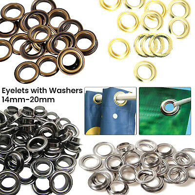 14mm - 20mm Rust Proof Eyelets with Washers Brass DIY Pool Covers Vinyl Banners