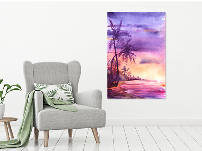 Beautiful Sunset Beach Scenery Print Home Decor Wall Art choose your size