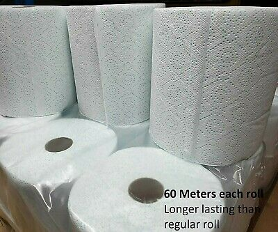 6 Jumbo XL Kitchen Roll Towel 2 Ply Thick Absorbent Printed Design Centrefeed