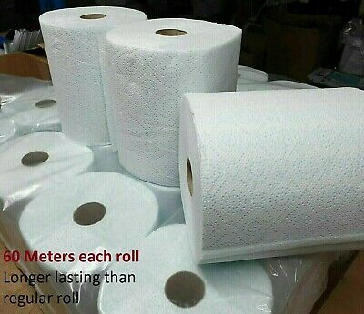 12 Jumbo XL Kitchen Roll Towel 2 Ply Thick Absorbent Printed Design Centrefeed