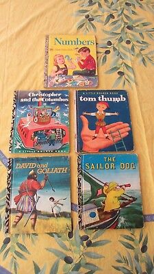 Vintage Bulk lot of 5 Little Golden Books tom thumb numbers the sailor dog++