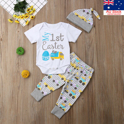 AU My 1st Easter Newborn Baby Boy Girl Romper+Leggings+Hat Outfits Clothes Set