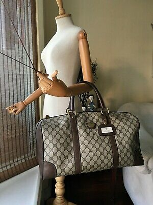 3f0848e0cdb0 Authentic Vintage Gucci Boston Duffle Brown Canvas & Leather Weekend/Travel  Bag