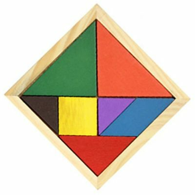 Wooden Tangram 7 Piece Jigsaw Puzzle Colorful Iq Game Brain Teaser Toys For Kids