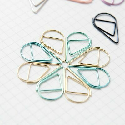 Water Drop Shaped Metal Paper Clip Bookmark Stationery School Office Supply