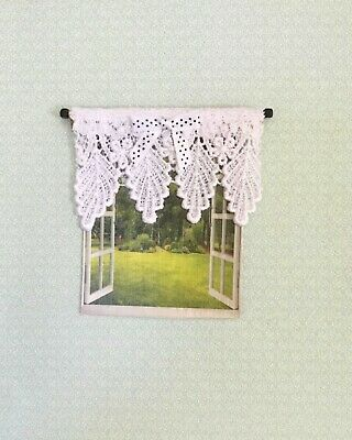 Dollhouse Miniature White Lace Valance  with Black & White Trim