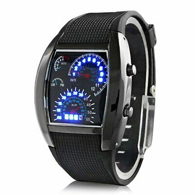 UK STOCK Mens Digital Quartz Sport Waterproof LED Stainless Steel Wrist Watch