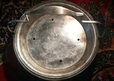 Rare Antique Sterling Silver Iraqi Footed Basket With Handle Signed.