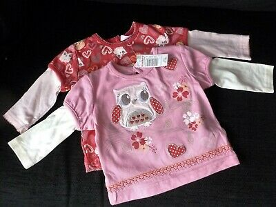 Cherokee Baby Girls Owls  Long  Sleeve Top x 2  9-12  months  nwt